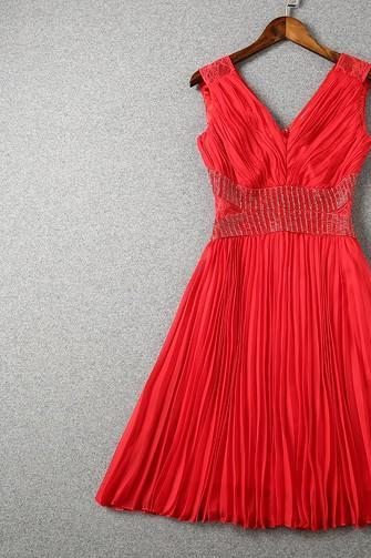 Red Lace and Chiffon Sleeveless Party Dress