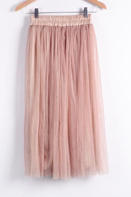 High-Waisted Pleated Midi Tulle Skirt