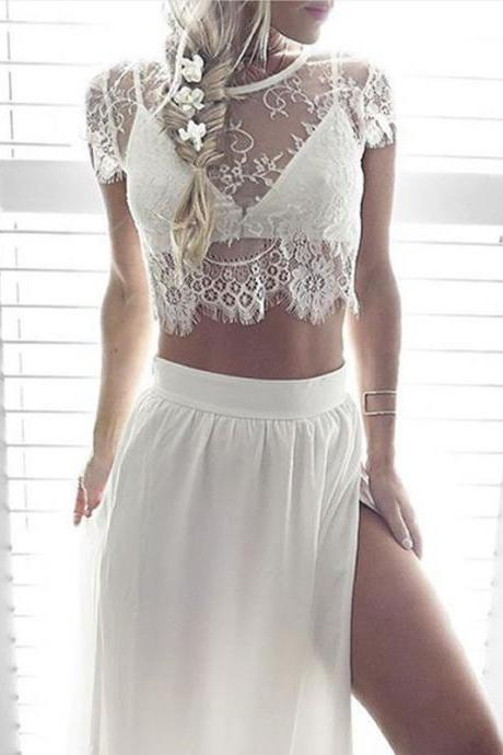 Elegant Two Piece Lace Top and Skirt Dress Set