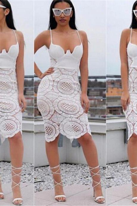 Elegant Body con Lace Dresses in White Black and Pink