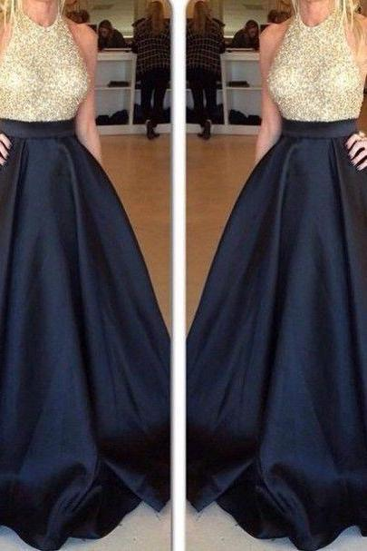 Ball Gown Solid Black and Blue High Waist Elegant Long Skirts