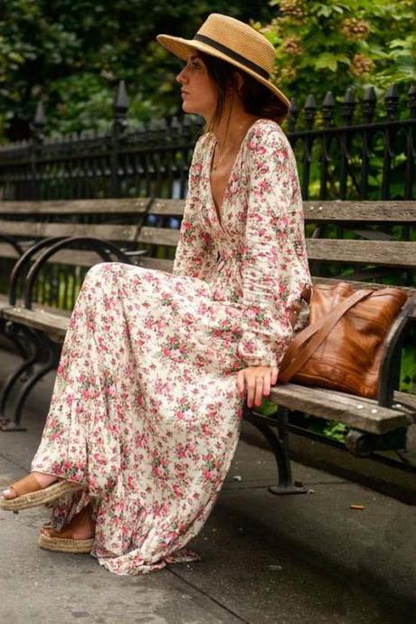Summer Autumn Fashion Women Casual Long Sleeve V-neck Floral Maxi Dress