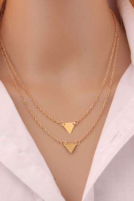 Golden Geometric Layered Statement Necklaces