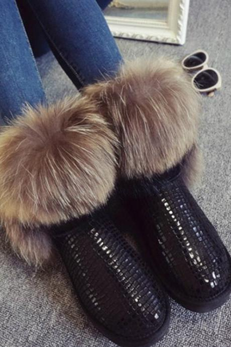 Stylish Faux Fur Genuine Leather Warm Winter Boots