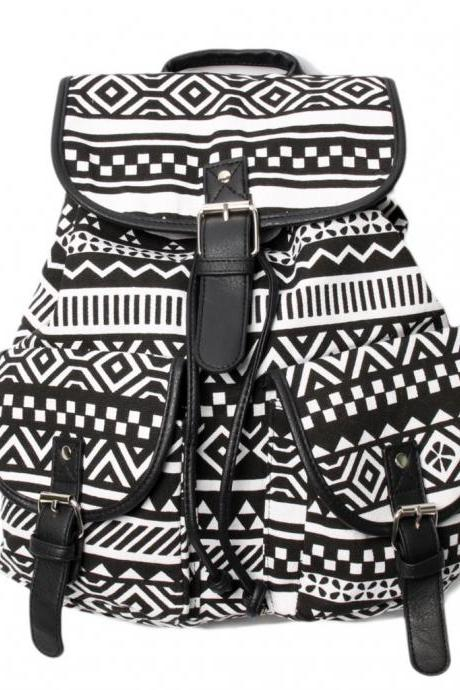 Black Aztec Design Women's Backpack Bags
