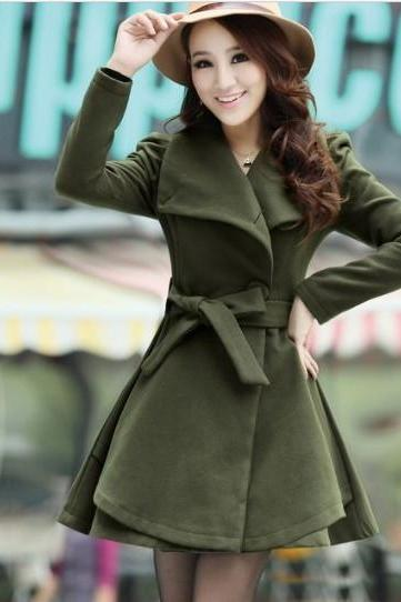 Army Green Woolen Winter Coat