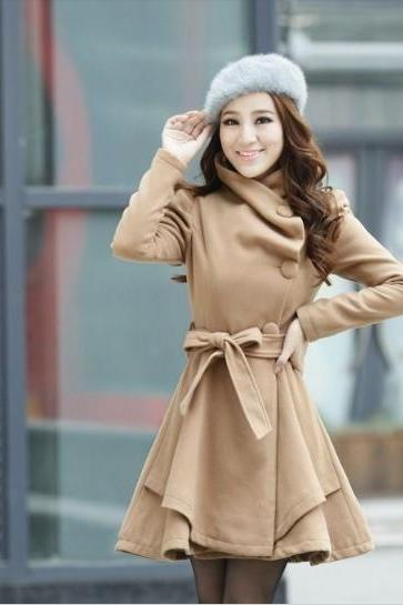 Elegant Brown Woolen Winter Coat