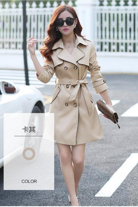 Brown Double Breasted Trench Coat