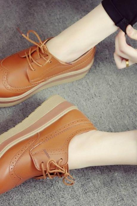 Flat Platform shoes Fashion Casual Lace-Up Oxfords shoes For Women