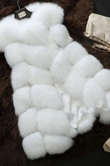 High Quality Faux Fur Luxury Vest Coat