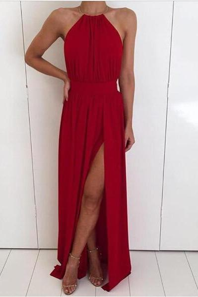 Women Chiffon Halter Neck Long Dresses