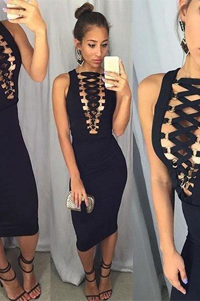 Sexy Black Deep V Neck Body con Party Dress