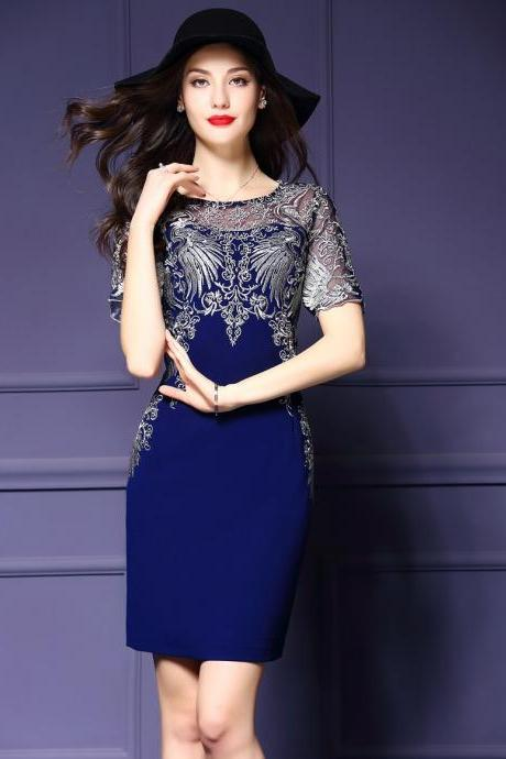 Beautiful Royal Blue Dress with Lace Details