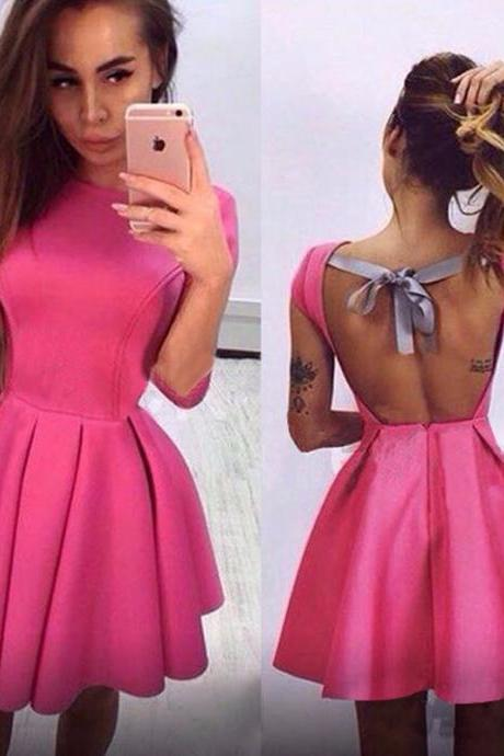 Gorgeous Pink Back Bow knot Design Dress
