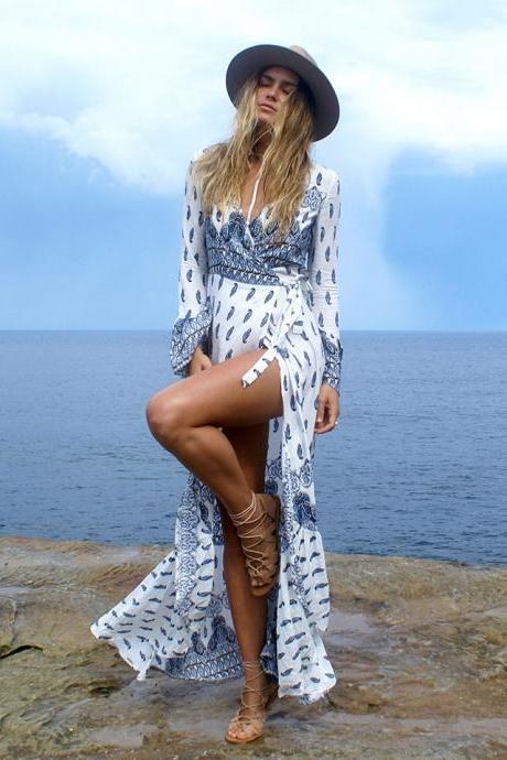 Gorgeous Blue Bohemian Printed Long Beach Summer Dress
