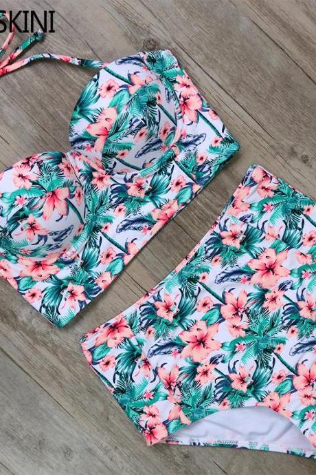 Floral Print High Waist Vintage Design Swimsuit