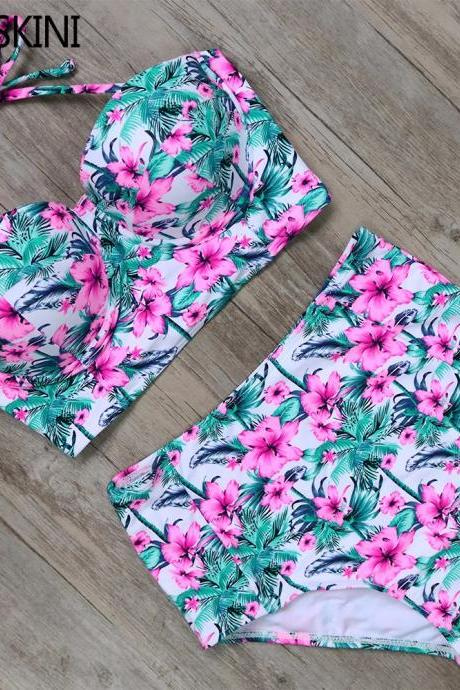 Vintage Design floral Print High Waist Swimsuit