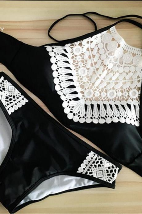 Halter Swimsuit with Beautiful Lace Detail