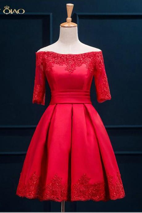 Beautiful Red Lace Up Prom Evening Dress