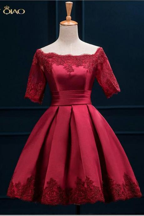 Wine Red Lace and Satin Prom Evening Dress