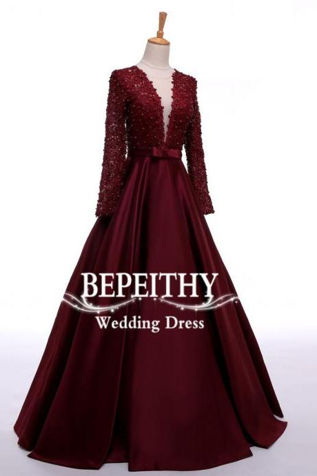 Long Sleeve Burgundy Lace and Satin Evening Prom Dress