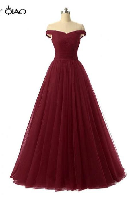 Off Shoulder Chiffon Princess Style Evening Dress