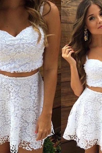 White Lace Two Pieces Top and Skirt Dress Set