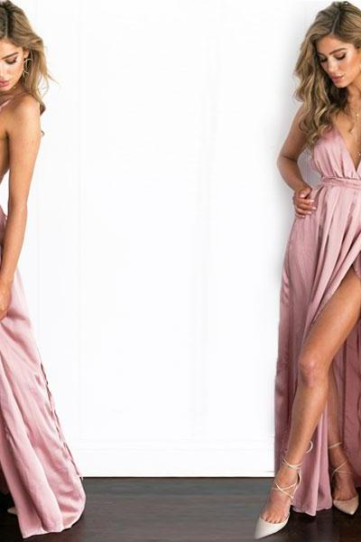 Gorgeous Pink Satin V Neck Long Dress