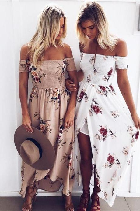 Floral Print Off-The-Shoulder Wrap Maxi Dress