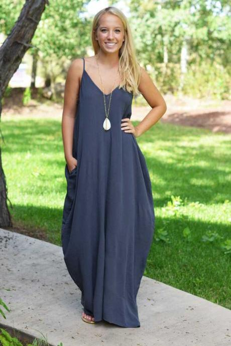 Loose V Neck Maxi Dress in Blue