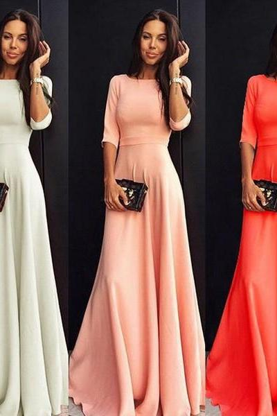 Elegant Long Sleeve Evening Party Maxi Dress in White, Pink and Orange