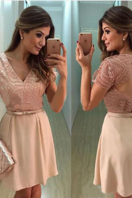 Elegant Pink Lace Short Sleeve Dress