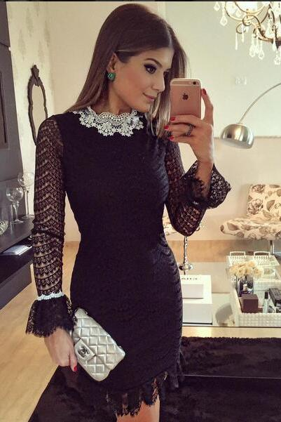 Spring and Summer Black Long Sleeve Lace Dress