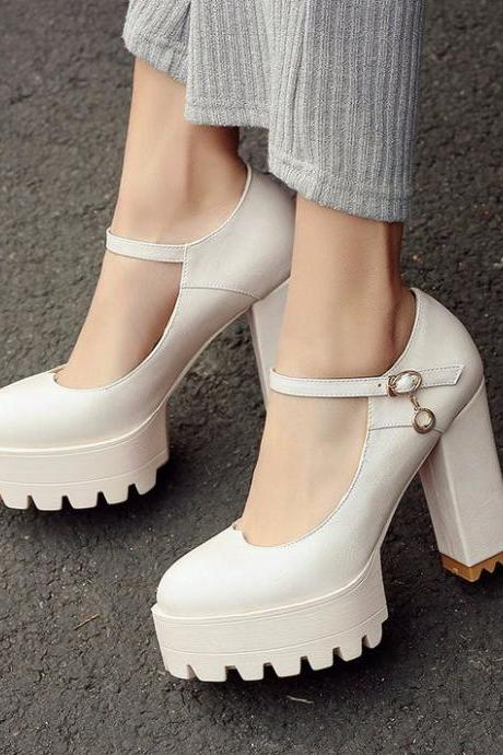 Ankle Strap Ladies Chunky Heel Platform High Heel Shoes