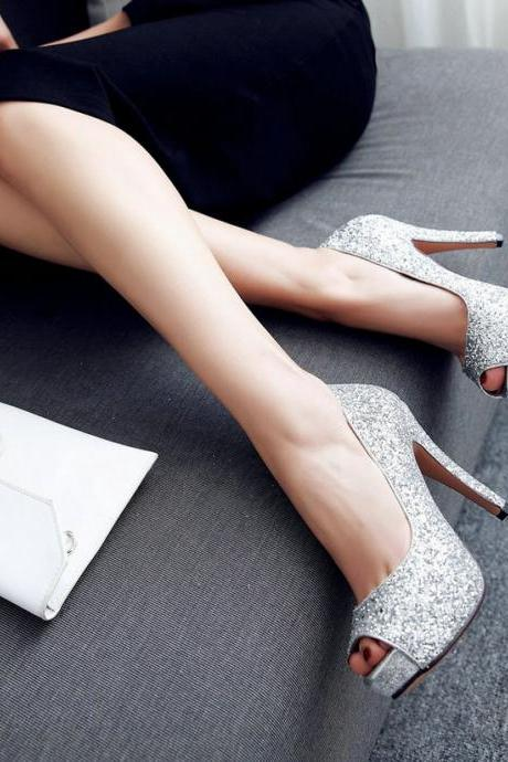 Silver Peep Toe High heels Fashion Sandals