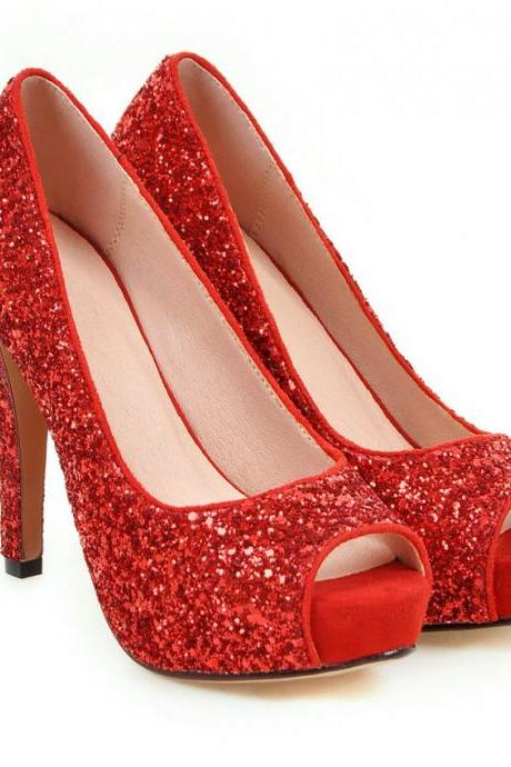 Sexy Red Peep Toe High hHeels Fashion Sandals
