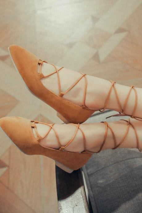 Faux Suede Lace-Up Pointed Toe Flats