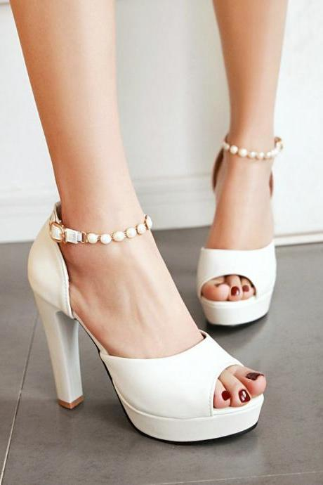 Pearl Strap Peep toe High Heels Fashion Sandals