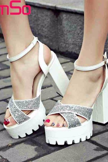 White Cross Strap Party High heels Fashion Sandals
