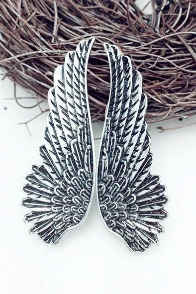 Silver Angel Wing Earrings, Jewelry