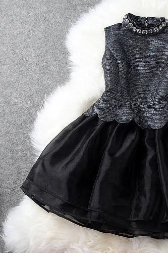 Black High Quality Spring and Summer Sleeveless Ball Gown Party Dress