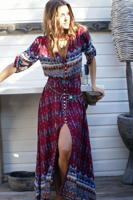Bohemian Printed Long Maxi Dress