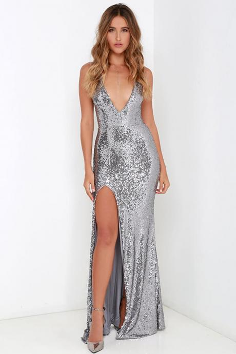 Silver V Neck Sequin Long Dress