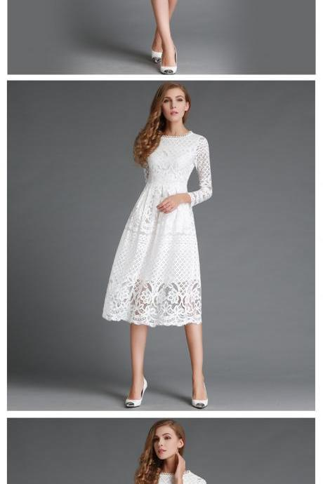 Classy Long Sleeve Lace Dress in Black and White