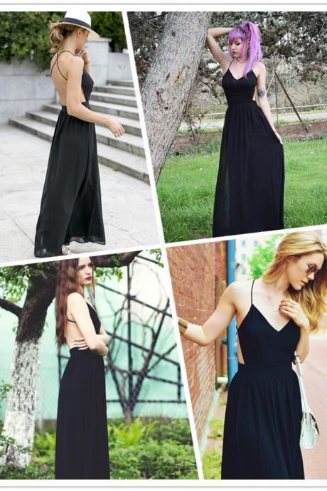 Black Chiffon V Neck Long Dress