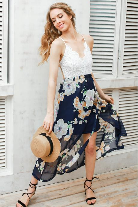 Sexy Deep V neck Print Lace Summer Dress
