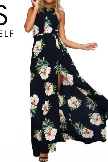 Boho Floral Print Dark Blue Summer Maxi Dress