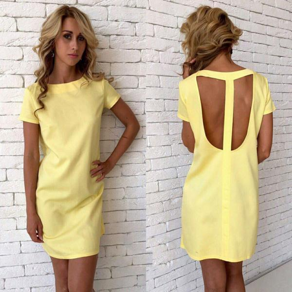 Yellow Sexy Back Summer Dress