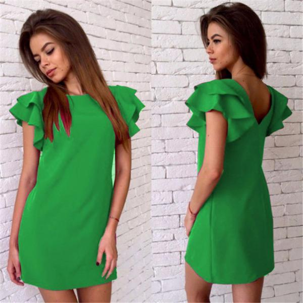 Green Ruffled Casual Summer Dress