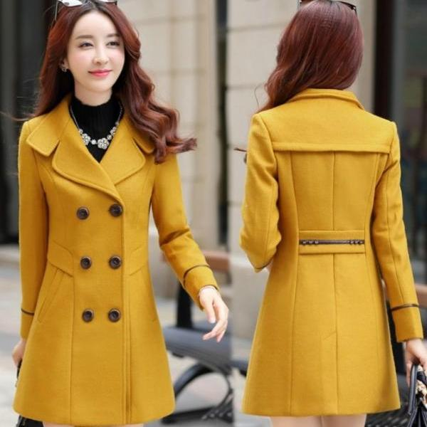 Classy Autumn and Winter Double Breasted Woolen Coat